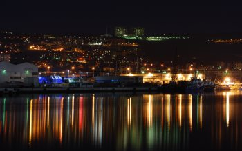 Wallpaper: Night landscape with industrial area