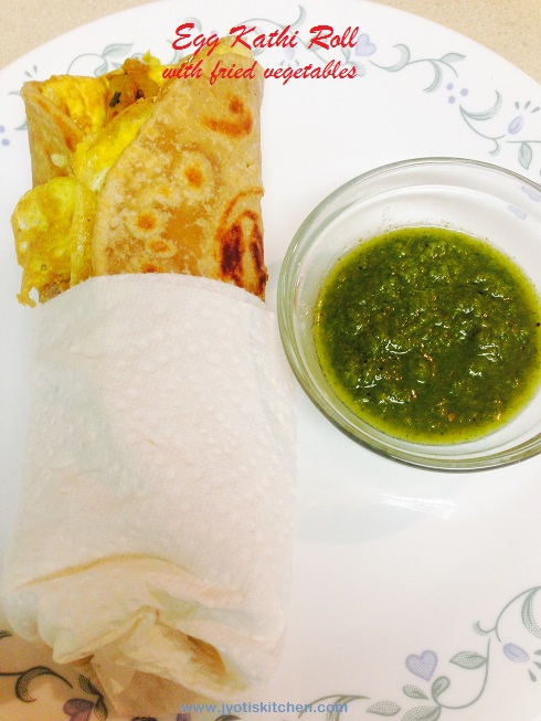 Egg Kathi Roll with fried vegetables recipe with step by step photo