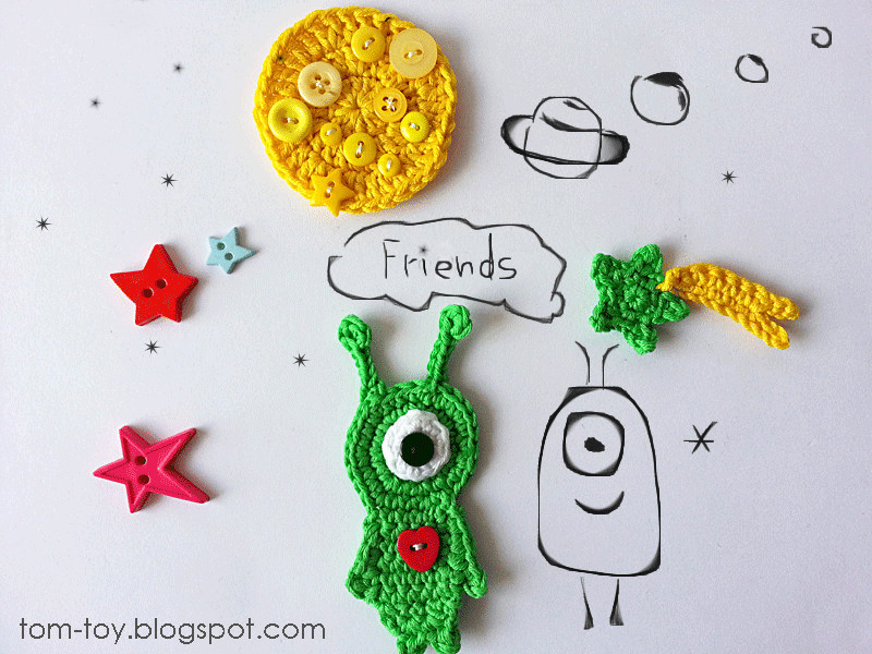 Outer space crochet applique