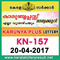 20.04.2017 Karunya Plus Lottery KN 157 results - kerala lottery results