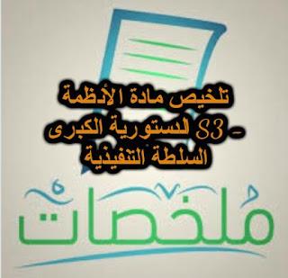 تلخيص مادة الأنظمة الدستورية الكبرى S3 -  السلطة التنفيذية