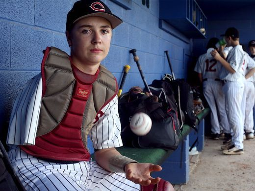 Eighth-grader Luke Terry, 14, the catcher for the Cornersville Middle School baseball team, had his arm amputated when he was 19 months old. HELEN COMER / DNJ 1