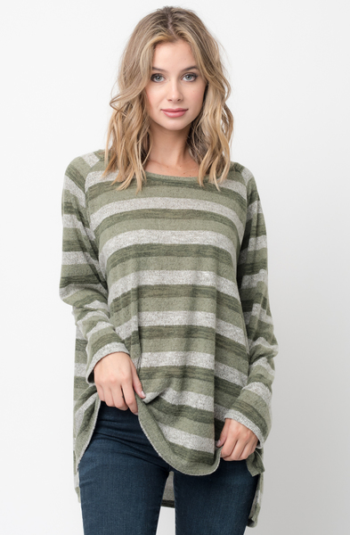 Shop for Olive Hi Lo Long Sleeve Dolman Striped Sweater Tunic on Caralase.com