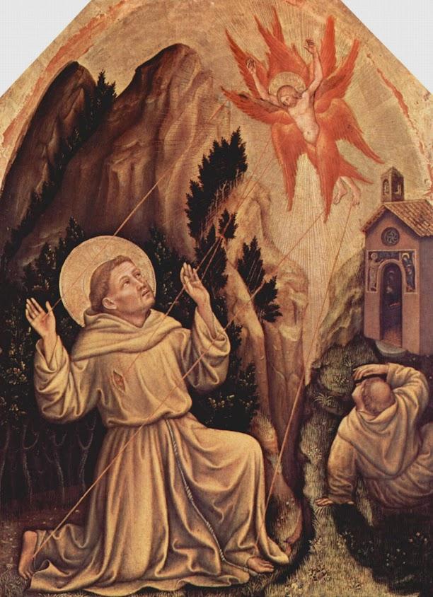 São Francisco recebe os estigmas. Gentile da Fabriano (1370 – 1427), Fondazione Magnani-Rocca, Parma
