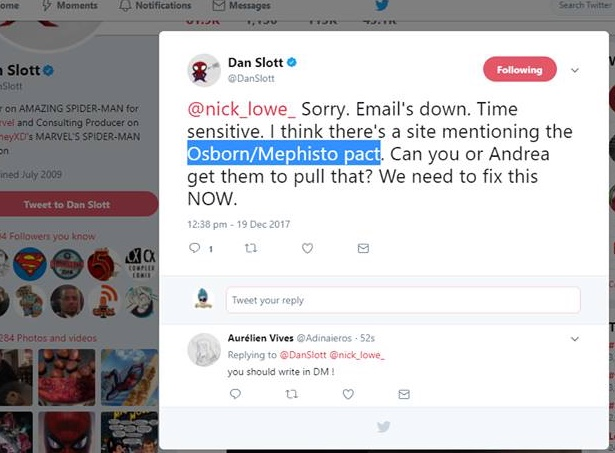 Dan slott deleted tweet dm mephisto osborne spider-man omd one more day