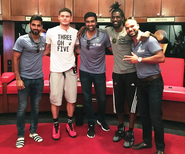 Picture 1: (L to R –Bhuvaneshwar Kumar, Tyler Johnson, R Ashwin, Briante Weber and Shikar Dhawan at The American Airlines Arena