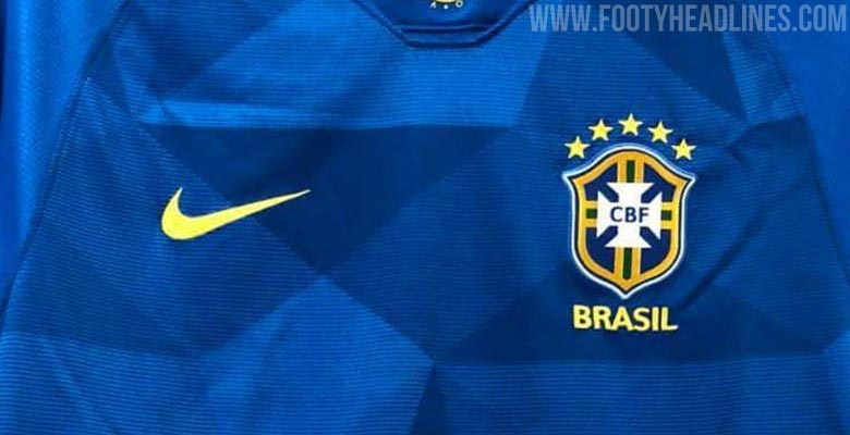 69ada85c2 On the upper back and the collar of the Brazil 2018 World Cup away kit is  blue and yellow taping.