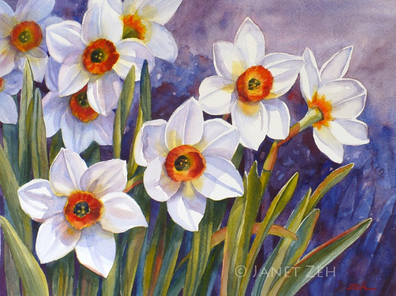 Narcissus Flowers Watercolor Painting