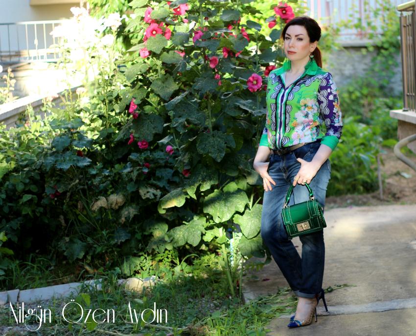 alışveriş-Yeşil Saten Gömlek-Yeşil Püsküllü Küpeler-yeşil rugan çanta-moda blogu-fashion blog