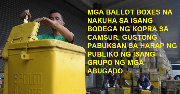 Group Urge Comelec to Publicly Open 27 Ballot Boxes Found in CamSur Copra Warehouse
