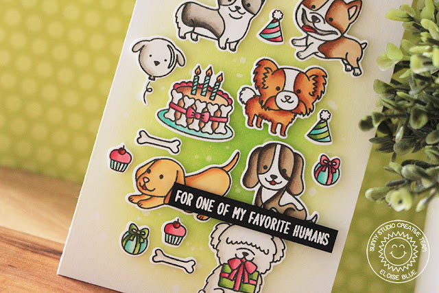 Sunny Studio Stamps: Party Pups Devoted Doggies Tetris Inspired Card by Eloise Blue