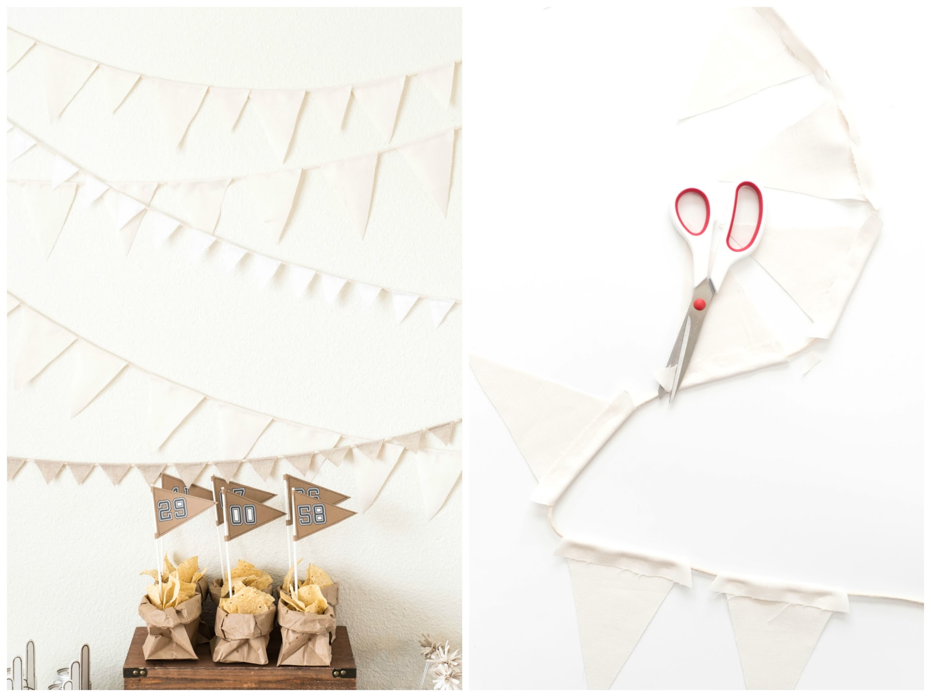 bunting, flag party backdrop tutorial, linen, burlap, football party tutorials, tailgating