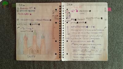 planowanie poszczególnych dni w bullet journalu, rysunek, prawosławie, zeszyt w kratkę, szare tło