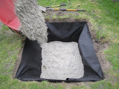 gravel hole dry well drainage water backyard yard problem area