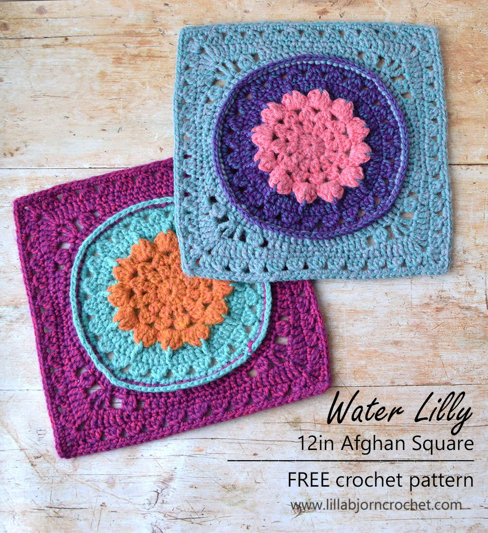 Water Lilly 12in Afghan Square_FREE crochet pattern_www.lillabjorncrochet.com