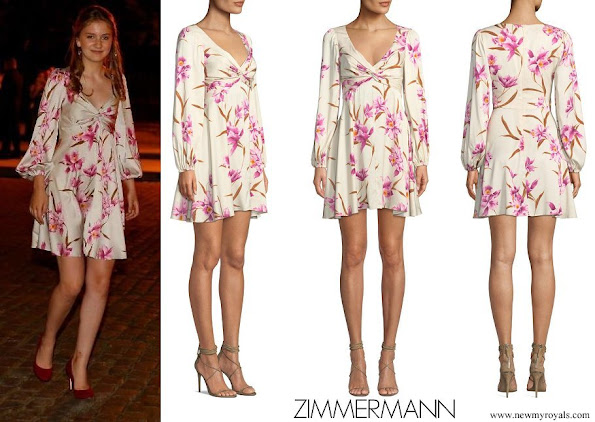 Crown Princess Elisabeth wore Zimmermann Corsage Knot-front Floral Short Cocktail Dress