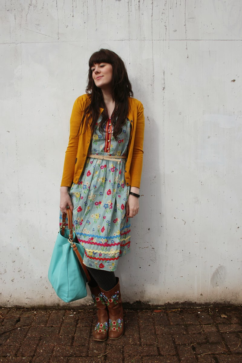 hair extensions - outfit of the day, cath kidston dress, cowboy kaleidoscope boots and boden bag