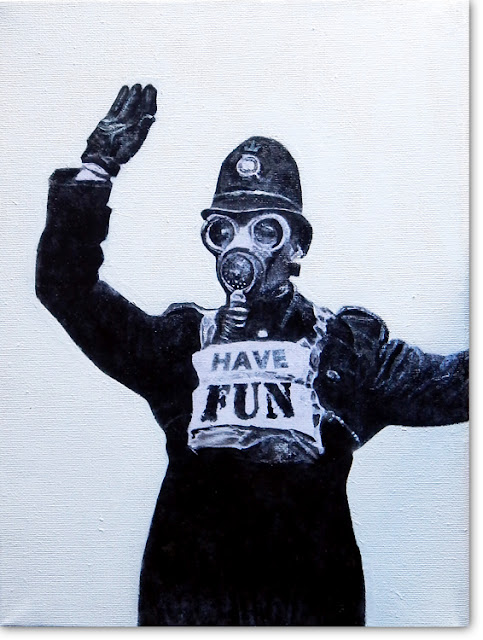 Painting of british policeman in gas mask by paintwalk