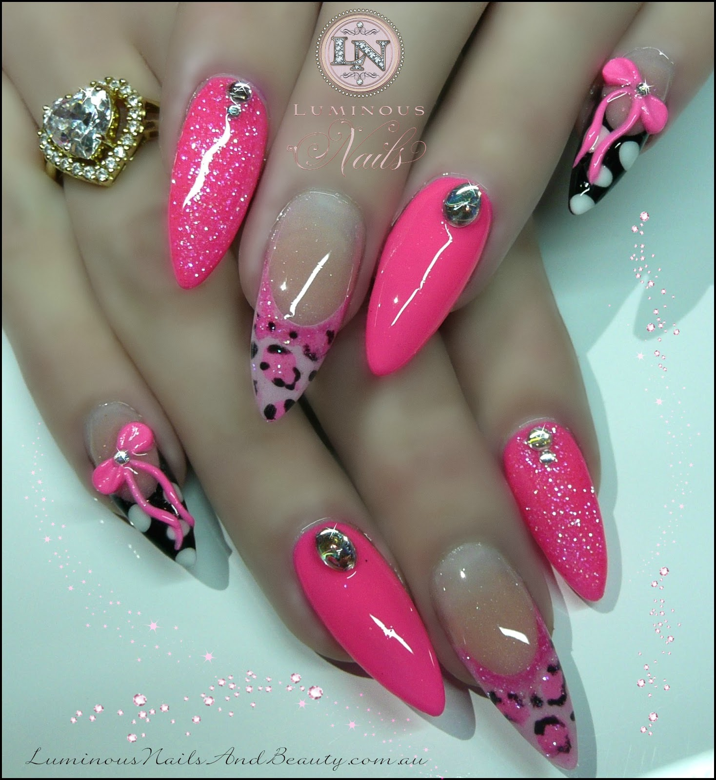 Hot Pink Nails with Pink Leopard Print, Polka Dots, Pink