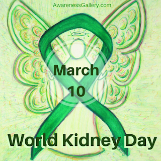 World Kidney Day Green Awareness Ribbon Angel Article