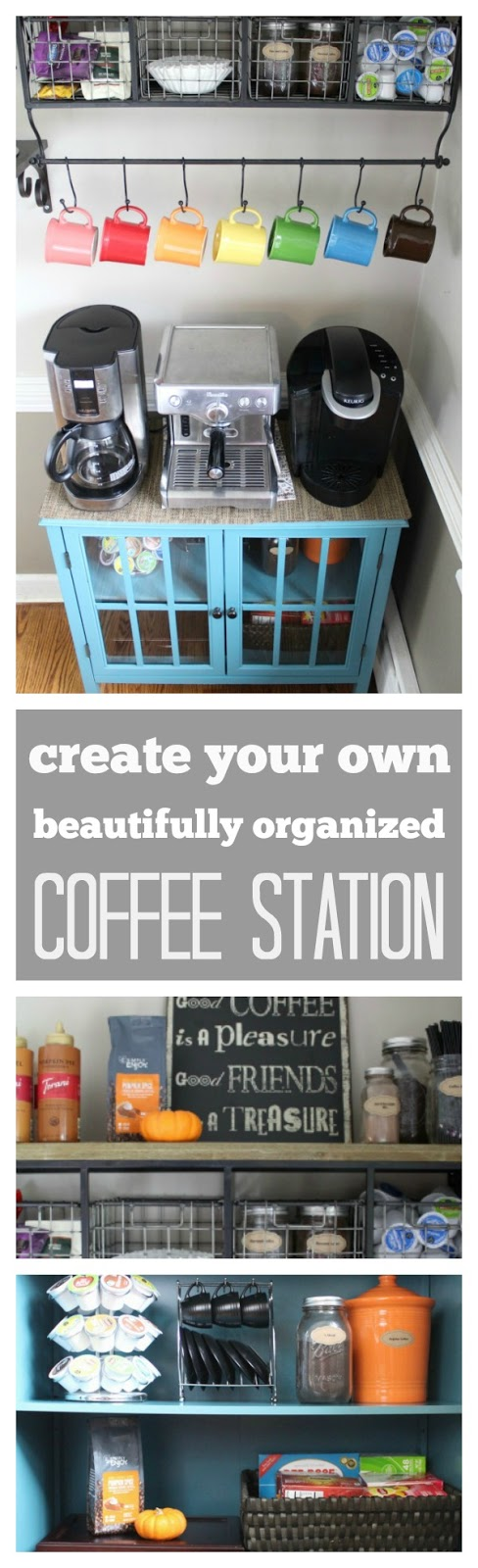 Create your own beautifully organized coffee station: 5 easy steps. Follow this guide to organize all of your coffee, tea and hot drinks into one organized coffee bar that will make guests feel welcomed in your home.
