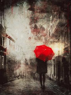 obraz czerwony parasol deszcz