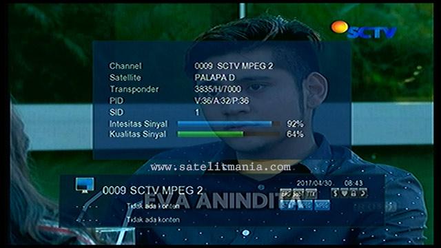 Channel SCTV MPEG2 Terbaru 2017 di Satelit Palapa D