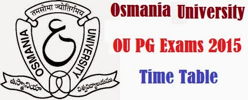 OU PG Annual Exams 2016 Time Table - Date Sheet