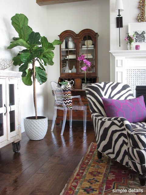 zebra animal print one room challenge traditional transitional mid century modern design
