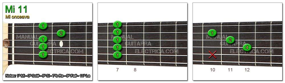 Acordes Guitarra Mi Onceava - E 11