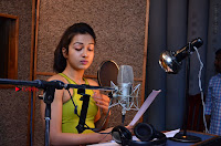 Actress Catherine Tresa Pos during Self Dubbing for Gautham Nanda Movie  0029.JPG