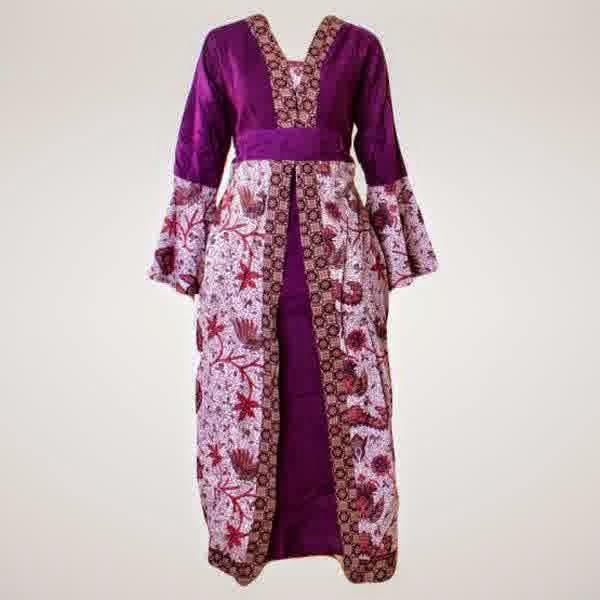 Model Baju Gamis Batik Kombinasi untuk Wanita Hamil