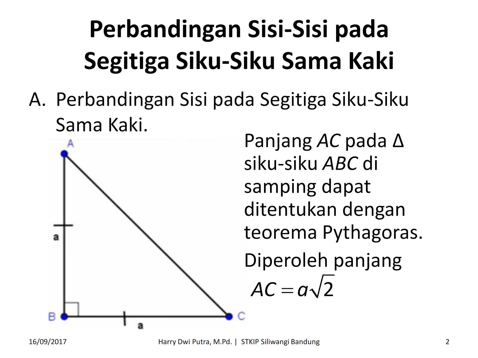 Perbandingan Sisi Sisi Segitiga Siku Siku ~ Dr. Harry Dwi Putra, M.Pd.