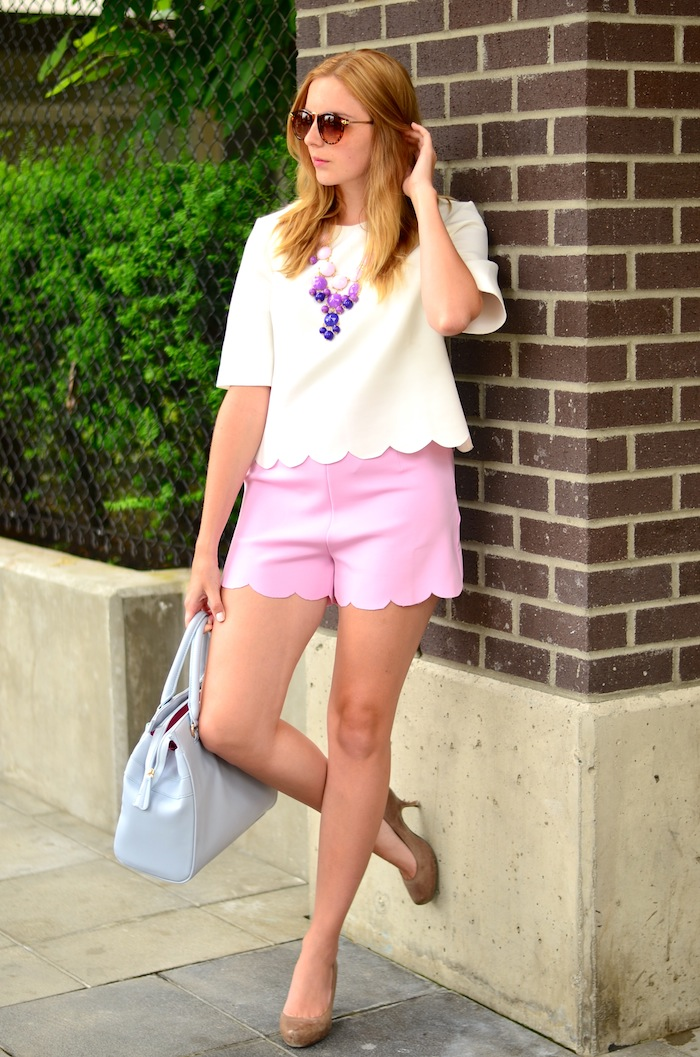 Front Row Shop Pink Scalloped Shorts