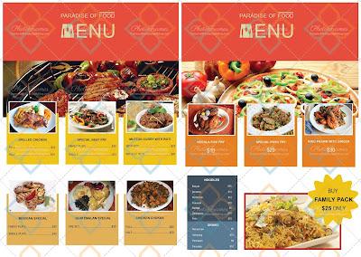 bonita plantilla para crear menus de restaurante