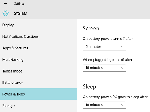 windows 10 power and sleep settings