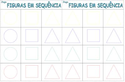 Tabuleiro do jogo Figuras em sequência