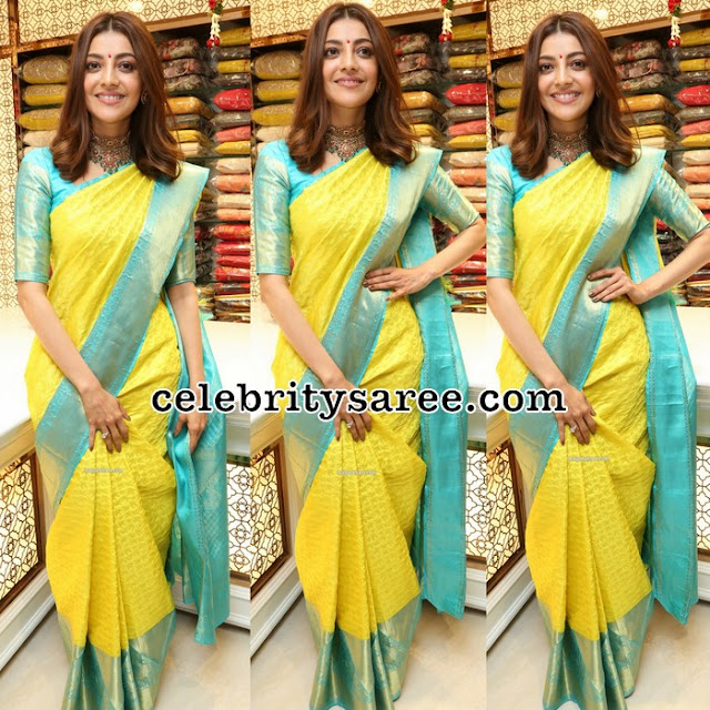 Kajal Agarwal in Lemon Yellow Silk Saree