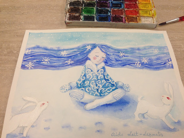 #AideLL #winter #meditation #watercolor #aquarelle #art #illustration #whiterabbit #whitebunny