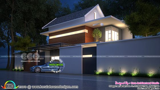 Contemporary sloping roof residence design