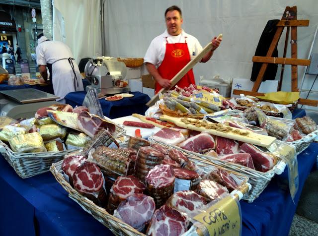Salami market Piazza Guiseppe Garibaldi Parma