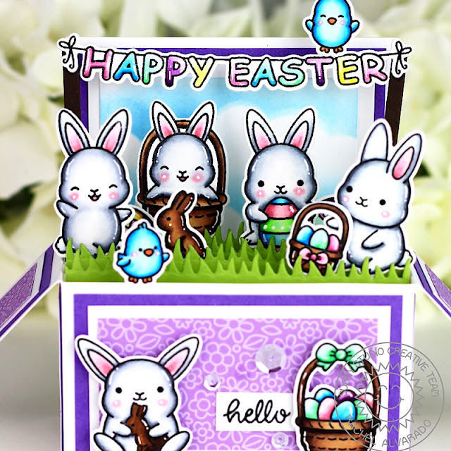 Sunny Studio Stamps: Chubby Bunny Spring Themed Easter Interactive Card by Rachel Alvarado