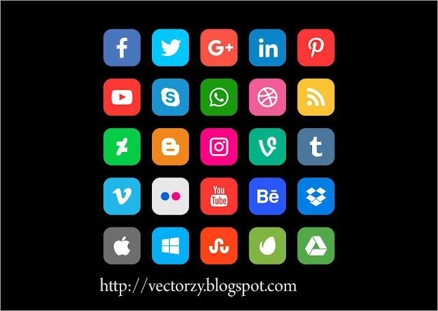 Kumpulan Icon Sosial Media Vector CorelDraw CDR