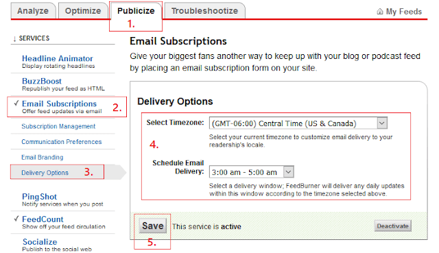 Changing email delivery time blogger