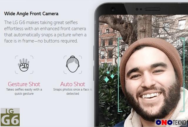 LG G6 kamera depan dengan gesture dan auto shot