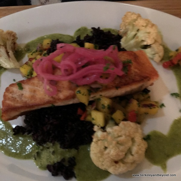pan-seared salmon at Casa Cubana in Oakland, California