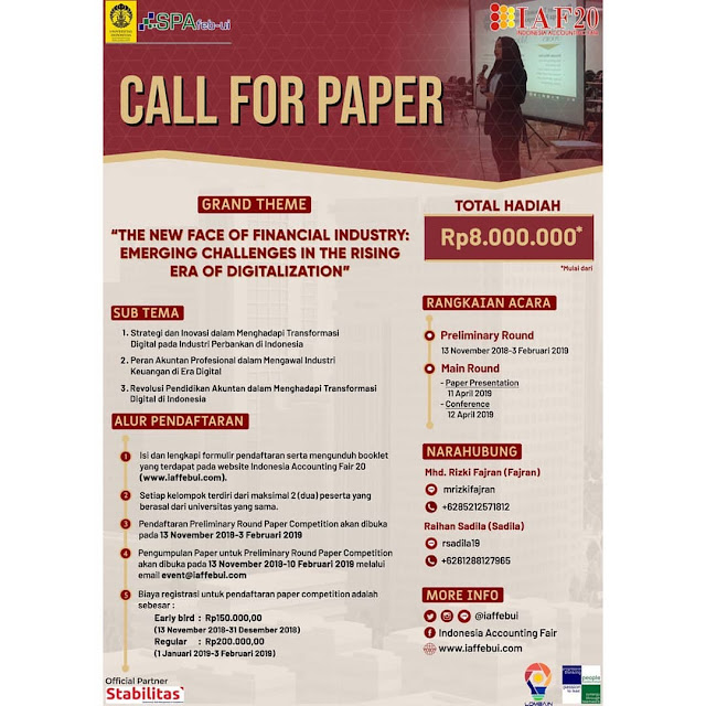 Lomba Accounting & Call For Paper IAF 20 2019 Mahasiswa