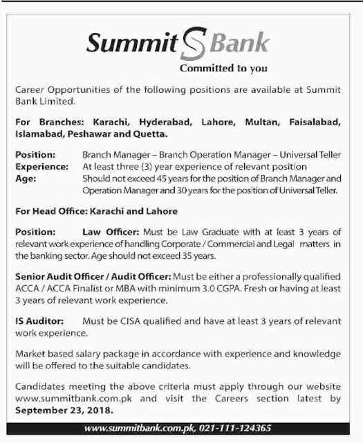 Latest Banking Jobs in Summit Bank