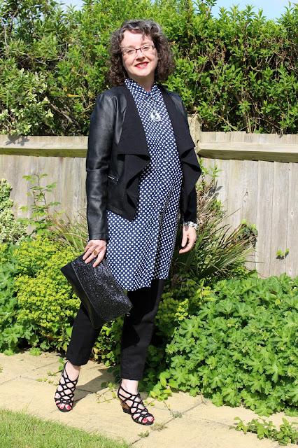 Dorothy Perkins Petite Maxi Shirt, Black Linen Cigarette Pants, Waterfall Jacket, Glitter Clutch | Petite Silver Vixen