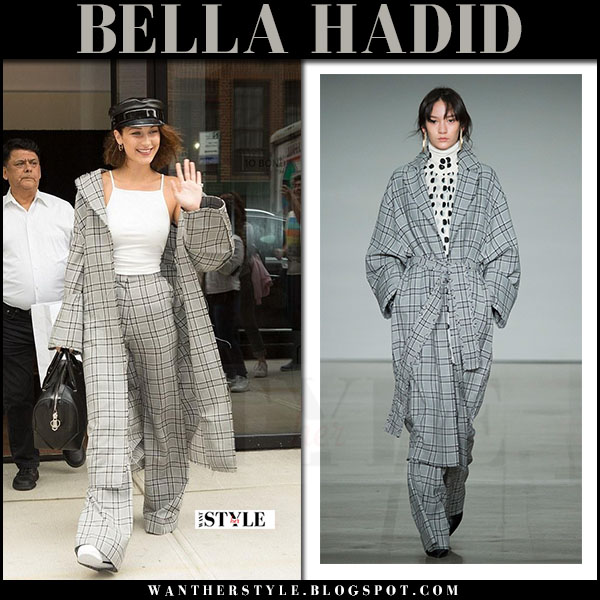 Bella Hadid in grey plaid trench coat, grey plaid trousers zimmermann with black hat what she wore june 5 2017